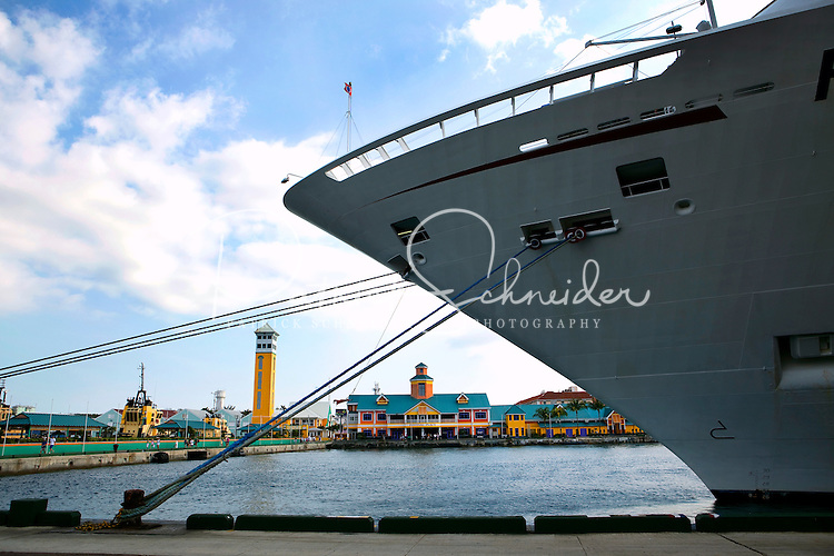 A cruise ship sits docked at Nassau, The Bahamas in the Caribbean.