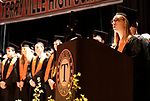"""Terryville, CT- 21 June  2017-062117CM12-  Terryville High School graduate Summer Steiner sings """"The Star Spangled Banner"""" during commencement exercises in Terryville on Wednesday.  Christopher Massa Republican-American"""
