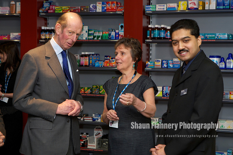 Pix: Shaun Flannery/shaunflanneryphotography.com...COPYRIGHT PICTURE>>SHAUN FLANNERY>01302-570814>>07778315553>>..24th February 2010............HRH The Duke of Kent officially opens the Rotherham Community Health Centre..Pat Wade, Chair of Rotherham Community Health Services Committee and member of the NHS Rotherham Trust Board.and Deevan Pillay MedicX Pharmacy.