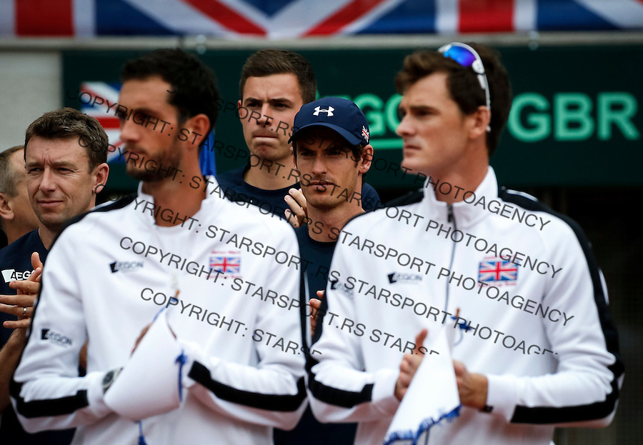 BELGRADE, SERBIA - JULY 15: Andy Murray (C) of Great Britain attends prior the Davis Cup Quarter Final match between Serbia and Great Britain on Stadium Tas Majdan on July 15, 2016 in Belgrade, Serbia. (Photo by Srdjan Stevanovic/Getty Images)