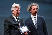 Paolo Sorrentino delivers a career prize to David Lynch<br /> Roma 04/11/2017.  Auditorium parco della Musica. Festa del Cinema di Roma 2017.<br /> Rome November 4th 2017. Rome Film Fest 2017<br /> Foto Stefano Costantino Pool / Insidefoto