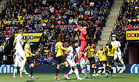 Heurelho Gomes of Watford pushes the ball away during a free kick during the Premier League match between Watford and Swansea City at Vicarage Road Stadium, Watford, England, UK. Saturday 15 April 2017
