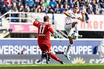 05.10.2019, Benteler Arena, Paderborn, GER, 1.FBL, SC Paderborn 07 vs 1. FSV Mainz 05<br /> <br /> DFL REGULATIONS PROHIBIT ANY USE OF PHOTOGRAPHS AS IMAGE SEQUENCES AND/OR QUASI-VIDEO.<br /> <br /> im Bild / picture shows<br /> Leopold Zingerle (Paderborn #17), <br /> Robin Quaison (FSV Mainz 05 #07), <br /> <br /> Foto © nordphoto / Ewert