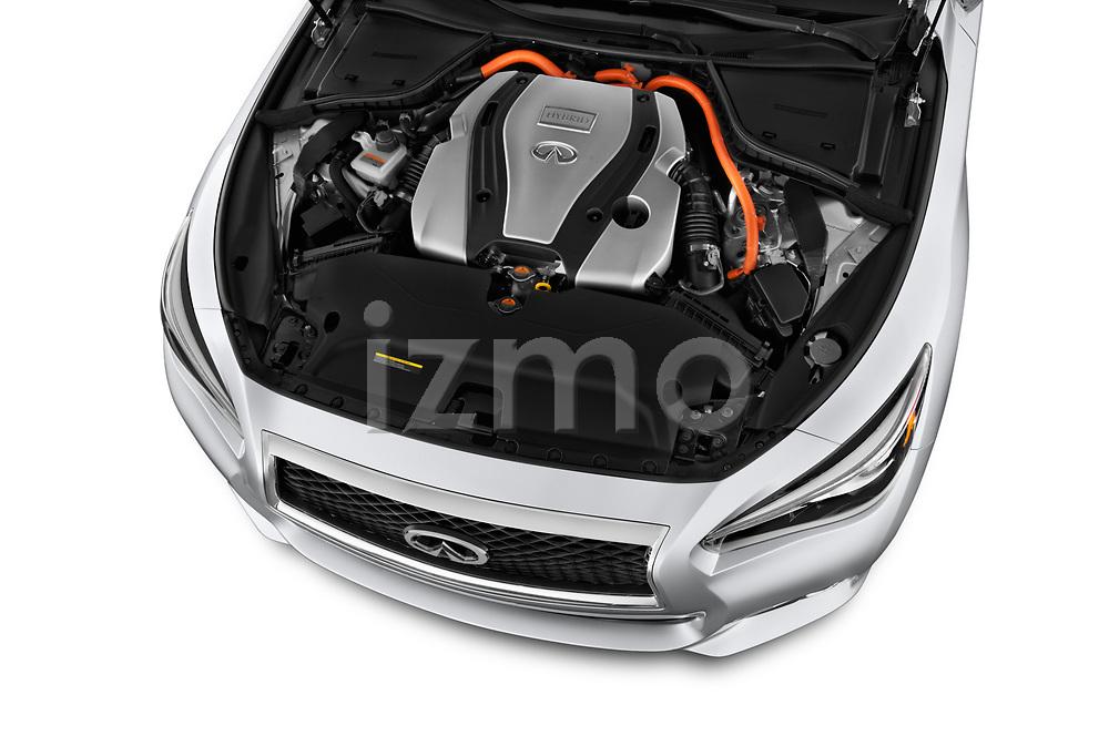 Car Stock 2017 Infiniti Q50 Hybrid-Premium 4 Door Sedan Engine  high angle detail view