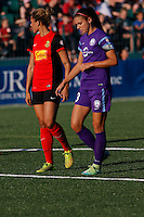 Rochester, NY - Saturday June 11, 2016: Orlando Pride forward Alex Morgan (13), Western New York Flash forward Lynn Williams (9) during a regular season National Women's Soccer League (NWSL) match between the Western New York Flash and the Orlando Pride at Rochester Rhinos Stadium.