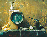 Scan of vintage color print. 1969. Still-life study with anvil and other items. 1of1