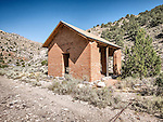 Old brick school house, ghost town of Tybo, Nev., in the Hot Springs Range.