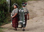 GUATEMALA  --  FEBRUARY 4, 2007:   Two women walk in the street on February 4, 2007 in Acul, Guatemala.  (PHOTOGRAPH BY MICHAEL NAGLE)