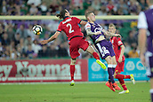 November 4th 2017, nib Stadium, Perth, Australia; A-League football, Perth Glory versus Adelaide United; Michael Marrone from Adelaide United and Andy Keogh of the Perth Glory jump for the header during the second half