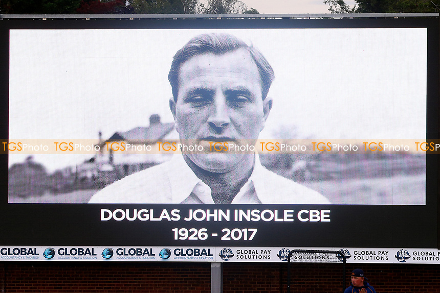 A tribute to late Doug Insole on the big screen during Essex Eagles vs Middlesex, NatWest T20 Blast Cricket at The Cloudfm County Ground on 11th August 2017
