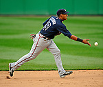 12 April 2008: Atlanta Braves' shortstop Yunel Escobar in action against the Washington Nationals at Nationals Park, in Washington, DC. The Braves defeated the Nationals 10-2...Mandatory Photo Credit: Ed Wolfstein Photo