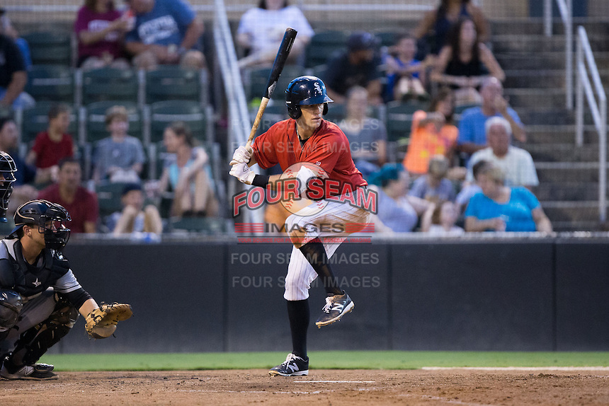 Zach Remillard (23) of the Kannapolis Intimidators at bat against the West Virginia Power at Kannapolis Intimidators Stadium on August 20, 2016 in Kannapolis, North Carolina.  The Intimidators defeated the Power 4-0.  (Brian Westerholt/Four Seam Images)