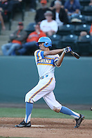 Luke Persico (21) of the UCLA Bruins bats during a game against the Oregon State Beavers at Jackie Robinson Stadium on April 4, 2015 in Los Angeles, California. UCLA defeated Oregon State, 10-5. (Larry Goren/Four Seam Images)