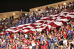 10 September 2008: USA fans fly the American Flag following a USA goal. The United States Men's National Team defeated the Trinidad and Tobago Men's National Team 3-0 at Toyota Park in Bridgeview, Illinois in a CONCACAF semifinal round FIFA 2010 South Africa World Cup Qualifier.