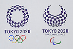 The new Tokyo 2020 Olympic and Paralympic Games logos on display at the Tokyo Metropolitan building on April 27, 2016, Tokyo, Japan. After scraping the original design last year due to accusations of plagiarism; The Tokyo 2020 Logo Selection Committee settled this week on a simple indigo-and-white checkered circle design by Asao Tokolo as a new emblem for the 2020 Summer Olympic Games. The final decision was announced on Monday 25th April after the selection committee had checked through almost 15,000 design proposals. The new logos are already starting to appear on Tokyo 2020 related communications. (Photo by Rodrigo Reyes Marin/AFLO)