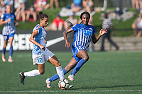 Allston, MA - Saturday August 19, 2017: Kristen Edmonds, Ifeoma Onumonu during a regular season National Women's Soccer League (NWSL) match between the Boston Breakers and the Orlando Pride at Jordan Field.