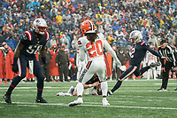 FOXBOROUGH, MA - OCTOBER 27: New England Patriots Kicker Mike Nugent #2 kicks a field goal during a game between Cleveland Browns and New Enlgand Patriots at Gillettes on October 27, 2019 in Foxborough, Massachusetts.