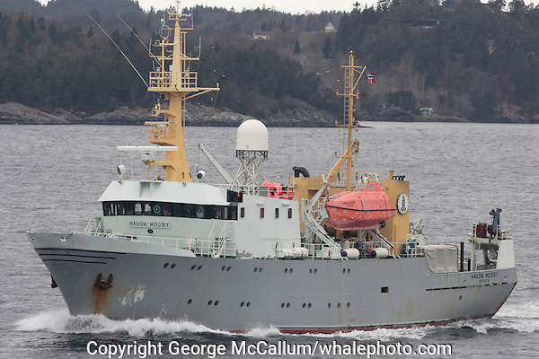 Marine Research Ship Hakon Mosby under way near home port of Bergen, Norway