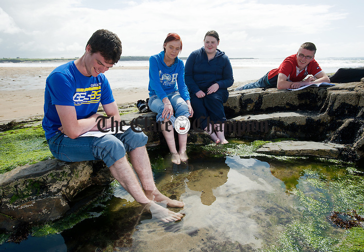 St Joseph's Secondary School, Spanish Point exam students; Owen Conway, Mullagh, Shauna Healy, Quilty, Yvonne Woods of Inagh and Tadhg Enright of Kilrush relax on the beach following the first day of exams on Wednesday. Photograph by John Kelly.