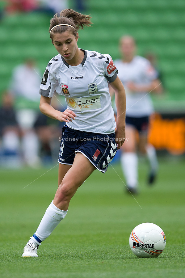 MELBOURNE, AUSTRALIA - DECEMBER 18: Stephanie CATLEY of the Victory controls the ball during the round 7 W-League match between the Melbourne Victory and the Perth Glory at AAMI Park on December 18, 2010 in Melbourne, Australia. (Photo Sydney Low / asteriskimages.com)