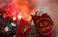 Calcio, semifinale di andata di Coppa Italia: Roma vs Napoli. Roma, stadio Olimpico, 5 febbraio 2014.<br /> AS Roma fans wave flags during the Italian Cup first leg semifinal football match between AS Roma and Napoli at Rome's Olympic stadium, 5 February 2014.<br /> UPDATE IMAGES PRESS/Riccardo De Luca