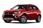 Stock pictures of low aggressive front three quarter view of 2019 Mitsubishi ASX Instyle 5 Door SUV Low Aggressive