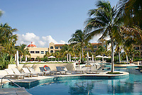 Swimming pool at Hacienda Tres Rios, an eco-luxury resort on the Riviera Maya, Quintana Roo, Mexico.