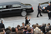 Washington, DC - August 29, 2009 -- Victoria Kennedy, widow of the late Senator Edward Kennedy, arrives at the US Capitol in the motorcade with the hearse bearing the remains of Senator Kennedy on August 29, 2009 in Washington, DC. Mourners from across the United States and the world gathered to pay their respects to senator Kennedy, who was to be buried at Arlington cemetery alongside his two brothers.    .Credit: Tim Sloan - Pool via CNP