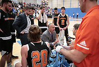 Brian Newhall, Head Men's Basketball Coach<br /> The Occidental College men's basketball team plays against Pomona-Pitzer in the SCIAC Tournament Championship on Saturday, Feb. 23, 2019 in Claremont. Oxy lost, 68-45.<br /> Oxy finishes with its best overall record since 2007-08 at 22-5 overall, and went 12-4 in SCIAC play for the second season in a row.<br /> (Photo by Marc Campos, Occidental College Photographer)