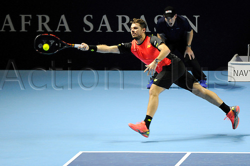 27.10.2016.  St. Jakobshalle, Basel, Switzerland. Basel Swiss Indoors Tennis Championships. Day 4. Stan Wawrinka in action in the match between Stan Wawrinka of Switzerland and Donald Young of the United States of America