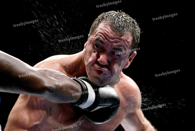 One Last Round, Jeff Fenech v Azuma Nelson Fight Night..Melbourne, Vodafone Arena 24-6-08.Jeff fenech cops one on the chin during his fight against Azuma Nelson..Photo: Grant Treeby