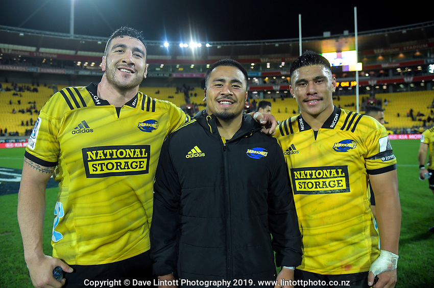 Front-rowers Jeff Toomaga-Allen, Asofa Aumua and Xaxier Numia after the Super Rugby match between the Hurricanes and Chiefs at Westpac Stadium in Wellington, New Zealand on Friday, 27 April 2019. Photo: Dave Lintott / lintottphoto.co.nz
