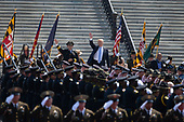 United States President Donald J. Trump arrives prior to delivering remarks at the the 37th Annual National Peace Officers' Memorial Service on the West Front of the United States Capitol Building in Washington, DC on May 15, 2018. Credit: Alex Edelman / CNP