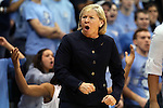 03 February 2013: UNC head coach Sylvia Hatchell, with 899 career wins coming into the game, coaches from the sideline. The University of North Carolina Tar Heels played the Duke University Blue Devils at Carmichael Arena in Chapel Hill, North Carolina in an NCAA Division I Women's Basketball game.