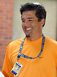 WPIX cameraman, Keith Lopez, at a press conference at NorthShore LIJ Southside Hospital in BayShore on Thursday August 18, 2005.(Newsday Photo / Jim Peppler).
