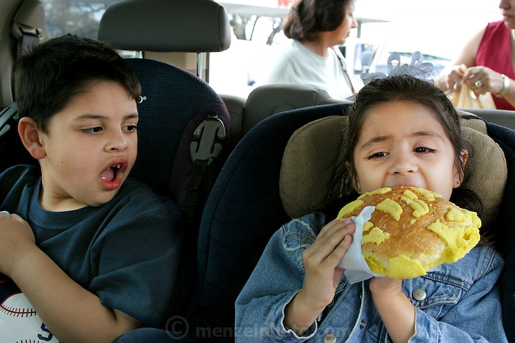 (MODEL RELEASED IMAGE). After going grocery shopping in their local San Antonio, Texas supermarket, Brian and Brianna Fernandez prepare to devour Texas-size pan dulces in the back of the family minivan. Hungry Planet: What the World Eats (p. 1).