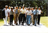 United States President Ronald Reagan strolls on the grounds of Camp David, near Thurmont, Maryland, on Sunday, August 15, 1982.  Over 30 members of Congress lunched with the President to discuss the Tax and Reconciliation Bill..Mandatory Credit: Michael Evans - White House via CNP