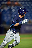 Charlotte Stone Crabs left fielder Justin Bridgman (24) runs to first base during the second game of a doubleheader against the St. Lucie Mets on April 24, 2018 at First Data Field in Port St. Lucie, Florida.  St. Lucie defeated Charlotte 5-3.  (Mike Janes/Four Seam Images)
