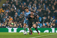 Leroy Sane of Manchester City battles Patrick Roberts (on loan from Man City) of Celtic during the UEFA Champions League GROUP match between Manchester City and Celtic at the Etihad Stadium, Manchester, England on 6 December 2016. Photo by Andy Rowland.