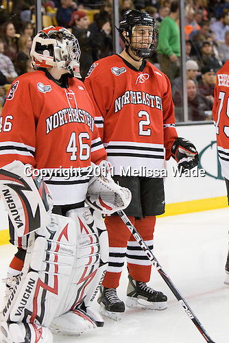 Bryan Mountain (Northeastern - 46), Drew Ellement (Northeastern - 2) - The Boston College Eagles defeated the Northeastern University Huskies 7-6 (OT) in the 2011 Beanpot Final on Monday, February 14, 2011, at TD Garden in Boston, Massachusetts.