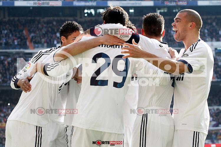 Real Madrid's Karim Benzema, Raphael Varane, Alvaro Morata, Sergio Ramos and Pepe celebrate goal during La Liga match.March 02,2013. (ALTERPHOTOS/Acero) /NortePhoto