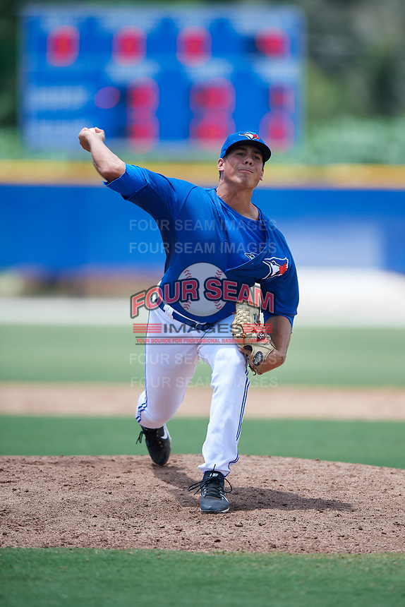 GCL Blue Jays relief pitcher Justin Watts (5) delivers a pitch during a game against the GCL Pirates on July 20, 2017 at Bobby Mattick Training Center at Englebert Complex in Dunedin, Florida.  GCL Pirates defeated the GCL Blue Jays 11-6 in eleven innings.  (Mike Janes/Four Seam Images)