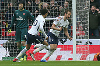 Harry Kane of Tottenham Hotspur celebrates scoring the opening goal during Tottenham Hotspur vs Arsenal, Premier League Football at Wembley Stadium on 10th February 2018