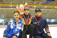 SCHAATSEN: HEERENVEEN: IJsstadion Thialf, 03-2003, VikingRace, Rita Battisti (ITA), Stephanie Beckert (GER), Natasja Bruintjes (NED), ©foto Martin de Jong