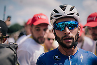 first stage winner & thus overall leader/yellow jersey Fernando Gaviria (COL/Quick Step Floors) after finishing<br /> <br /> Stage 1: Noirmoutier-en-l'Île > Fontenay-le-Comte (189km)<br /> <br /> Le Grand Départ 2018<br /> 105th Tour de France 2018<br /> ©kramon