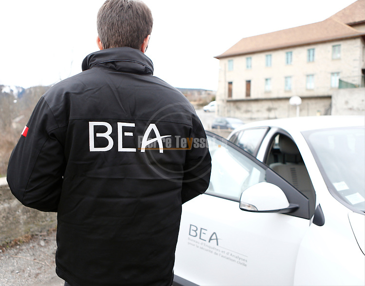 BEA arrives at the Operational Centre of the rescue operations of the crash of the Germanwings Airplane A320 in Seyne les Alpes, France on March 25, 2015.