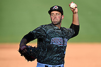 Arkansas Travelers pitcher Nate Smith (9) delivers a pitch during a game against the San Antonio Missions on May 25, 2014 at Dickey-Stephens Park in Little Rock, Arkansas.  Arkansas defeated San Antonio 3-1.  (Mike Janes/Four Seam Images)