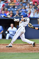 Asheville Tourists second baseman Max George (3) swings at a pitch during a game against the Charleston RiverDogs at McCormick Field on July 4, 2017 in Asheville, North Carolina. The Tourists defeated the RiverDogs 2-1. (Tony Farlow/Four Seam Images)