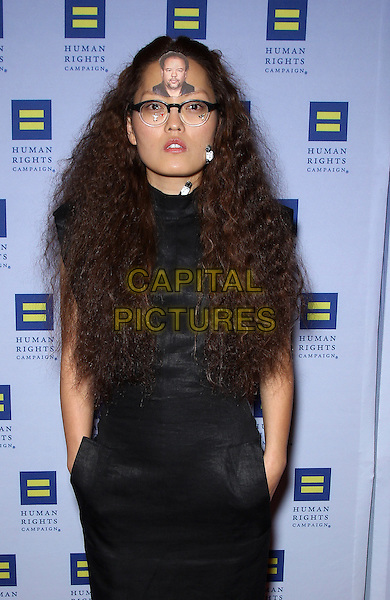 Hana Mae Lee.Las Vegas Celebrities celebrate equal love at the 8th Annual Human Rights Campaign Dinner Gala at Aria Las Vegas, Las Vegas, Nevada, USA, 18th May 2013..half length pockets  black face on head forehead glasses picture clips wires .CAP/ADM/MJT.© MJT/AdMedia/Capital Pictures