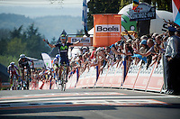Alejandro Valverde (ESP/Movistar) is yet again King of the Mur de Huy. He crosses the finish line here victoriously for the 3rd time in his career.<br /> <br /> 79th Fl&egrave;che Wallonne 2015